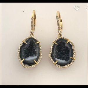 18kt diamond druzy earrings